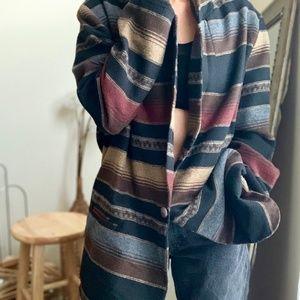 Vintage Striped Cozy Longline Blazer Coat